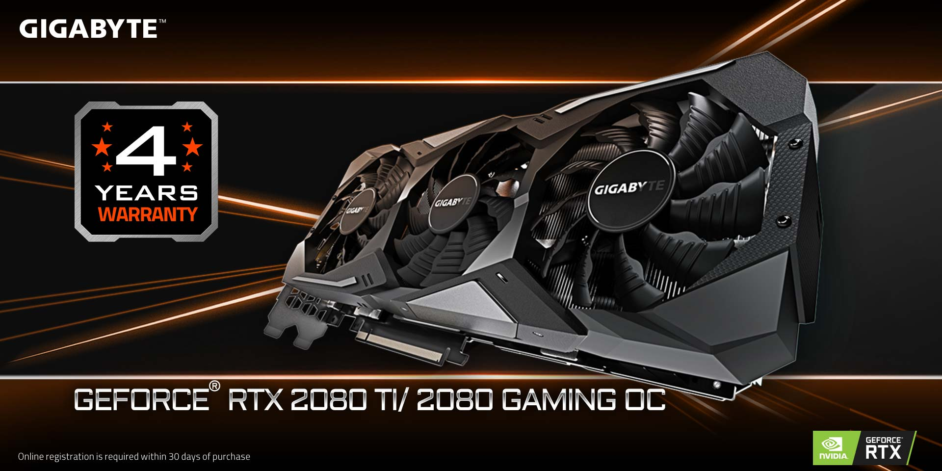 GIGABYTE RTX 2080 Ti/ 2080 Gaming OC 4 Year Warranty