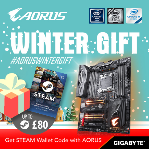 Buy the latest GIGABYTE AORUS X299 motherboards get up to £80 FREE STEAM wallet codes this winter!