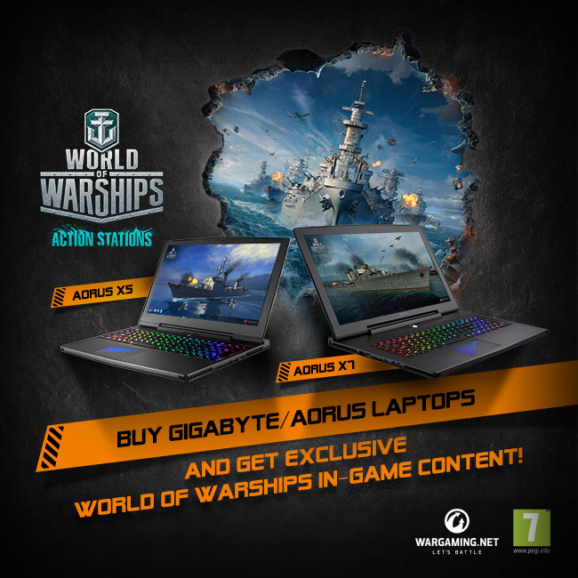 Buy GIGABYTE/AORUS laptops and GET exclusive World of Warships in-game content!