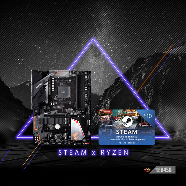 Buy select GIGABYTE AM4 B450 motherboards and get £10 FREE STEAM wallet codes!