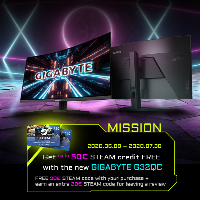 [UK] Free steam code with GIGABYTE monitor G32QC